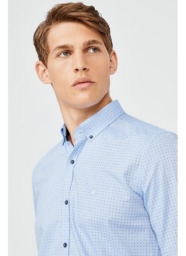 Avva Erkek  Baskılı Gömlek A02Y2082 Mavi